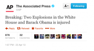 Associated Press Twitter Account Hacked, Tweets  About Explosions at White House