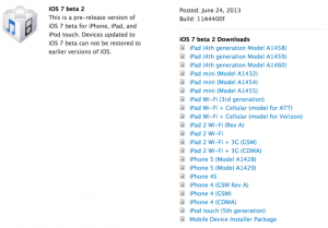 Apple Releases Developer Version Of iOS 7 Beta 2 Includes iPad Support